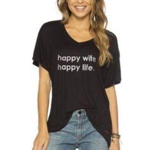 NWT PEACE LOVE WORLD HAPPY WIFE HAPPY LIFE S/S M